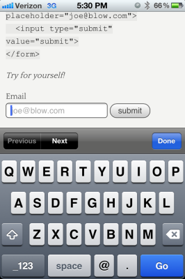 HTML5 Email Input Type