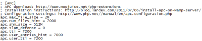 Screenshot of my APC configuration in the php.ini file of WAMP
