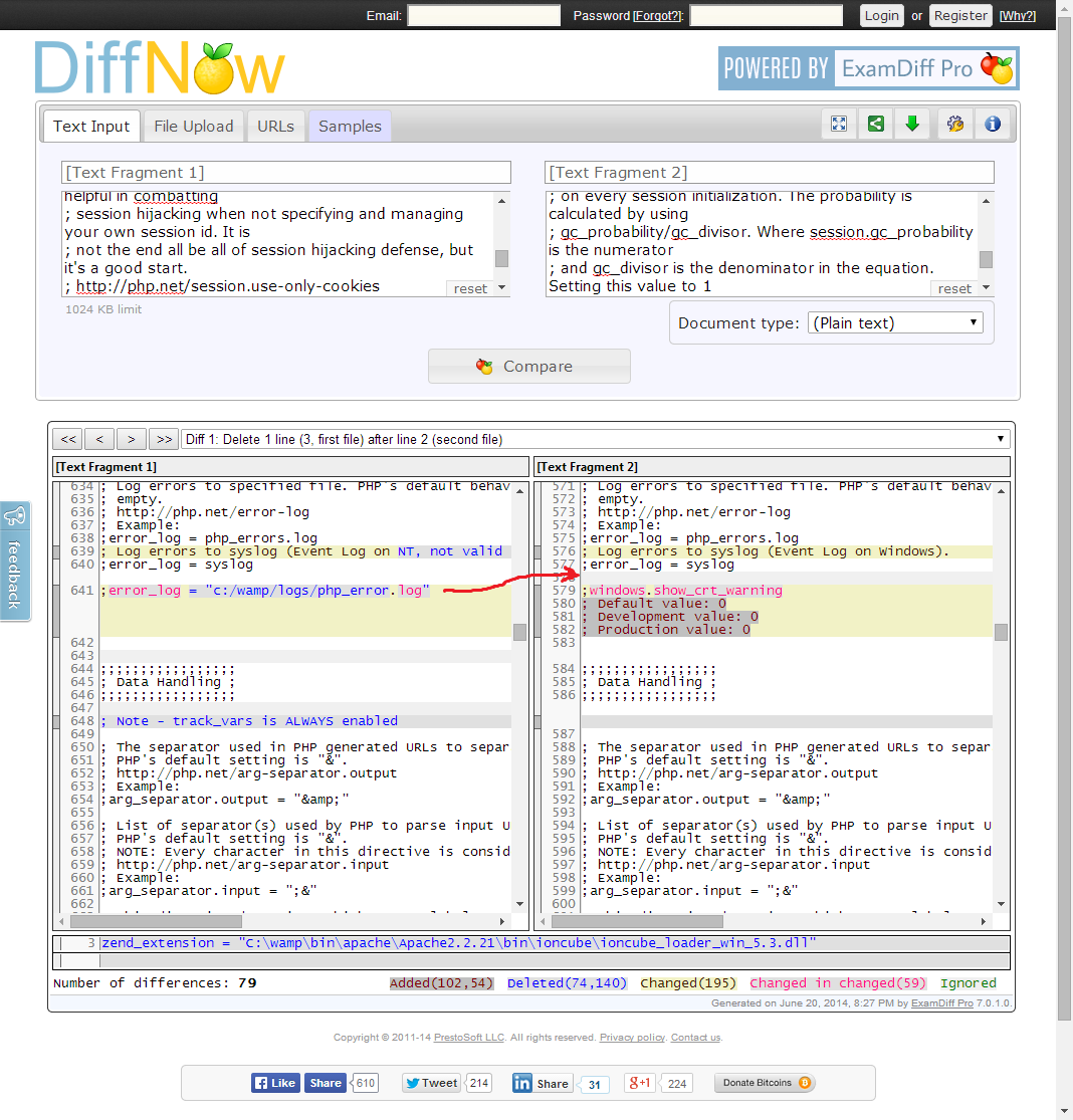 Screenshot of file comparison showing the error_log directive