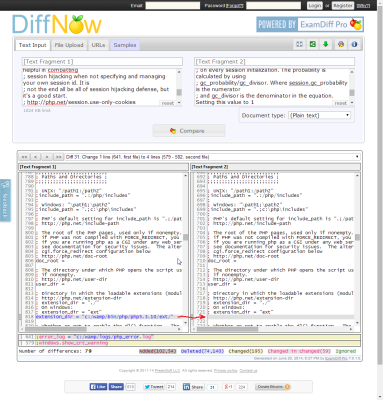 Screenshot of file comparison showing the extension_dir directive