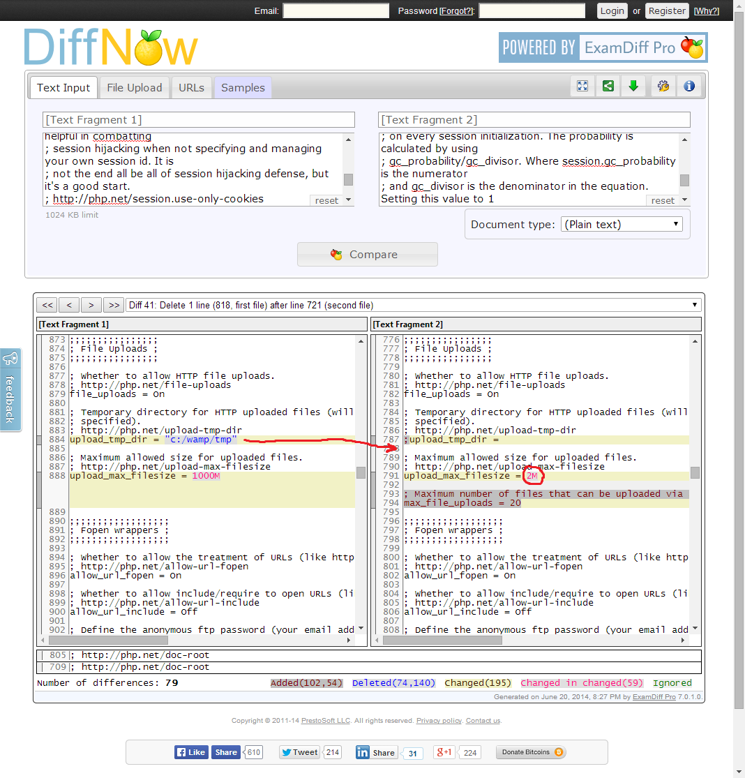Screenshot of file comparison showing the upload_tmp_dir and upload_max_filesize directive