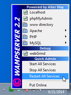 Screenshot of the WAMP menu option to restart all services
