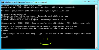 Screenshot of the Windows path variable being updated via the Windows command prompt