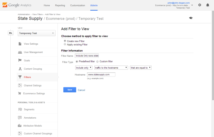 Screenshot of Google Analytics new filter page