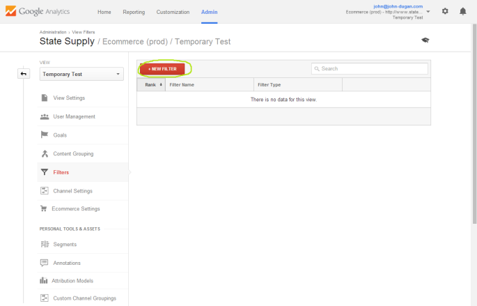 Screenshot of the Google Analytics filters for the current view