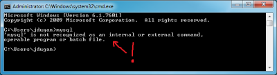 Screenshot of the Windows command prompt with the mysql command not recognized