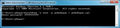 Screenshot of MySQL database dump command in the Windows command prompt