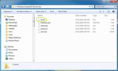 Screenshot of the Windows hosts file