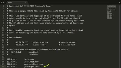 Screenshot of a new host being added to the Windows hosts file