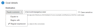 Screenshot of the destination dropdown on Google Analytics' goal configuration page