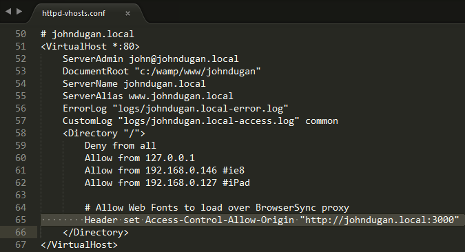 Screenshot of the Apache Virtual Hosts configuration file with the Access-Control-Allow-Origin highlighted