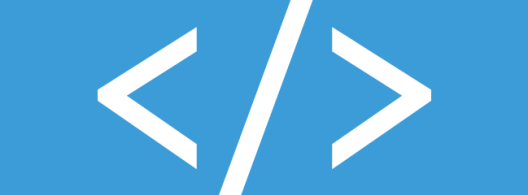 Graphic of a code symbol set against a blue background