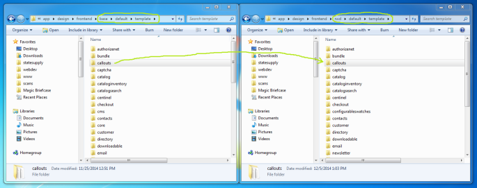 Screenshot of Magento callouts directory being copied to another theme