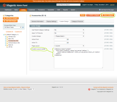Screenshot of a CMS Block being called on a Magento category in the Custom Layout Update field