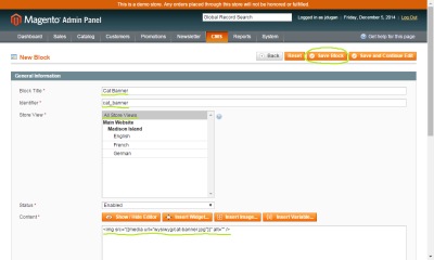 Screenshot of a new CMS Block in the Magento admin