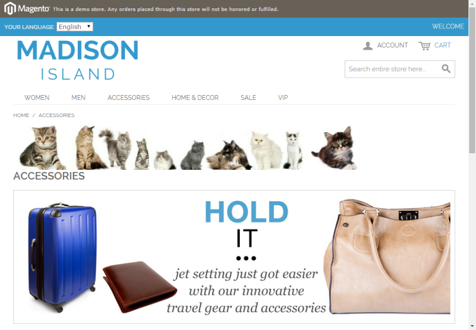 Screenshot of a cat banner shown on a Magento website
