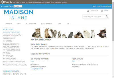Screenshot of a cat banner shown in the customer dashboard of a Magento website