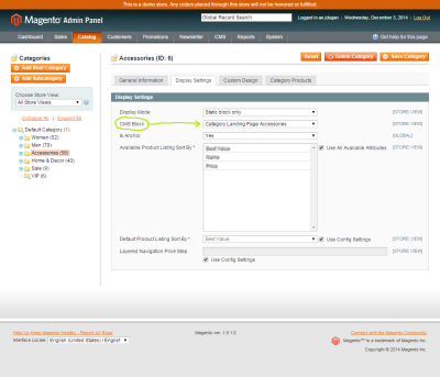 Screenshot of a CMS Block being assigned to a category in the Magento admin
