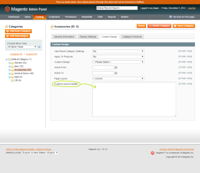 Screenshot of the Custom Layout Update field in the Magento category manager