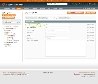 Screenshot of the Use Parent Category Settings dropdown in the Magento Admin