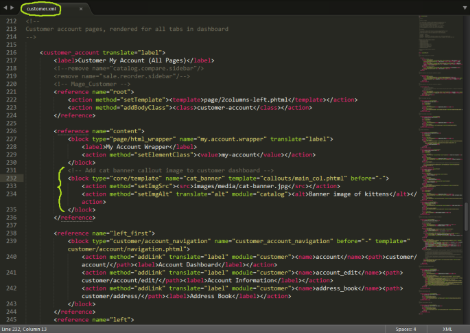 Screenshot of a Magento callout block being called in the customer.xml layout file