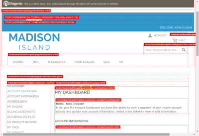Screenshot of Magento template path hints displayed in the customer dashboard
