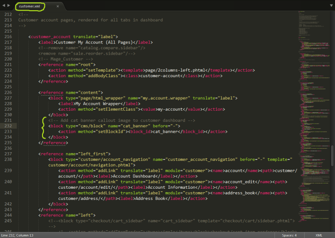 Screenshot of a Magento CMS block being called in the customer.xml layout file