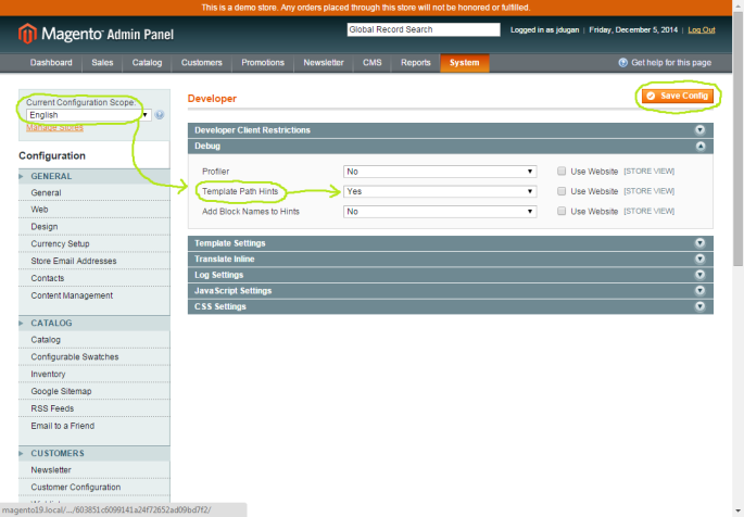 Screenshot of the Template Path Hints dropdown in the Magento Admin