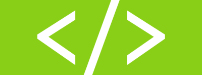 Graphic of a code symbol set against a green background