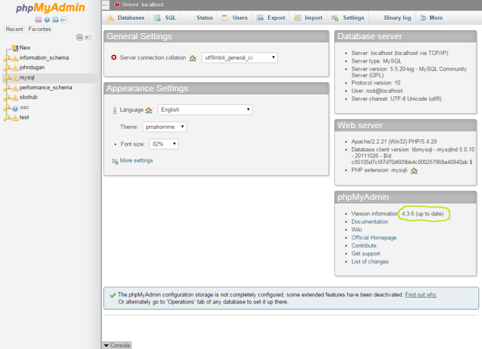 Screenshot of phpMyAdmin just after an upgrade was completed