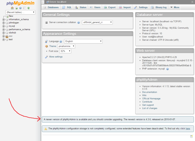 Screenshot of phpMyAdmin with arrow pointing to the upgrade notification message