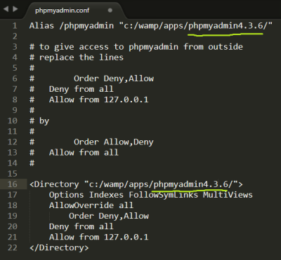 Screenshot of updated directory paths in the phpmyadmin.conf configuration file