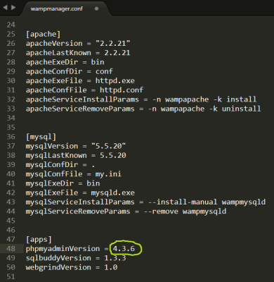 Screenshot of the phpmyadminVersion setting in the wampmanager.conf configuration file