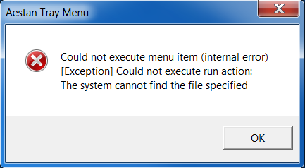 Screenshot of the Aestan Tray Menu Error message in WAMP