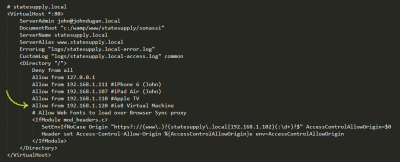 Screenshot of the vhost configuration for statesupply.local