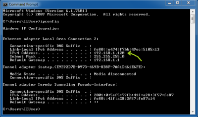 Screenshot of the ipconfig command being run in the command prompt of a virtual machine