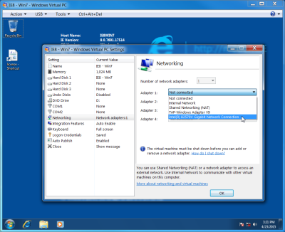 Screenshot of the network adapter Settings on Microsoft Virtual PC