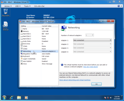 Screenshot of the networking Settings on Microsoft Virtual PC