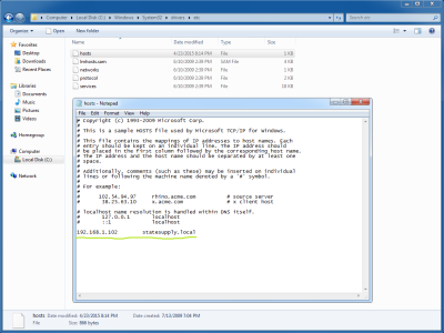 Screenshot of the Windows hosts file from a virtual machine
