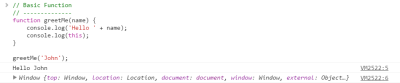 Screenshot of console output from this in JavaScript rule 1 example