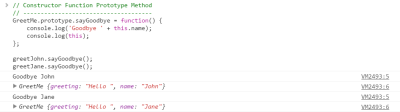 Screenshot of console output from this in JavaScript rule 3 example