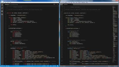 Screenshot of JavaScript code using the same color theme in Visual Studio Code and Sublime Text