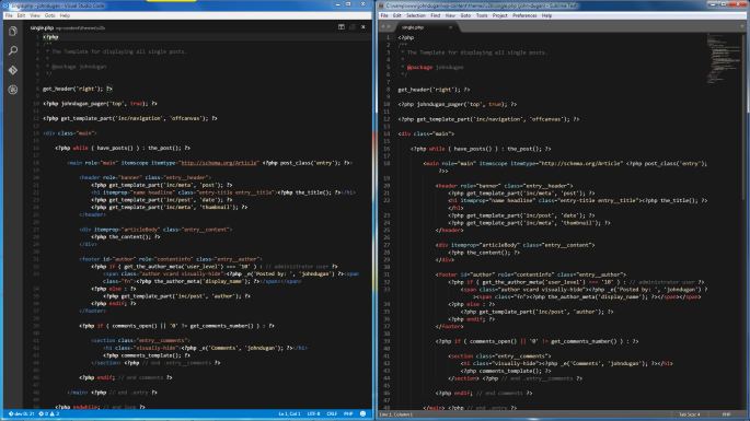 Screenshot of PHP code using the same color theme in Visual Studio Code and Sublime Text