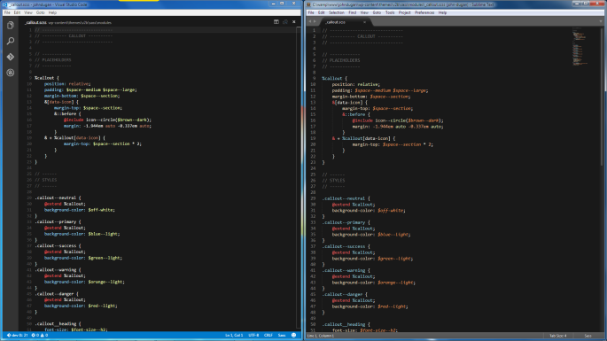 Screenshot of CSS (Sass) code using the same color theme in Visual Studio Code and Sublime Text
