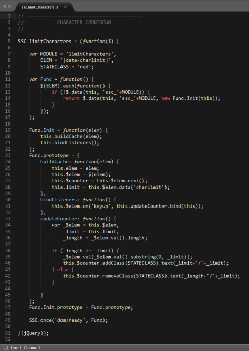 Screenshot of a JavaScript module in Contrast Theme for Sublime Text